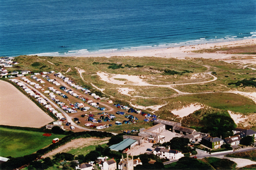 Areial View of Churchtown Farm Caravan & Camping Site & its easy access direct to the Beach